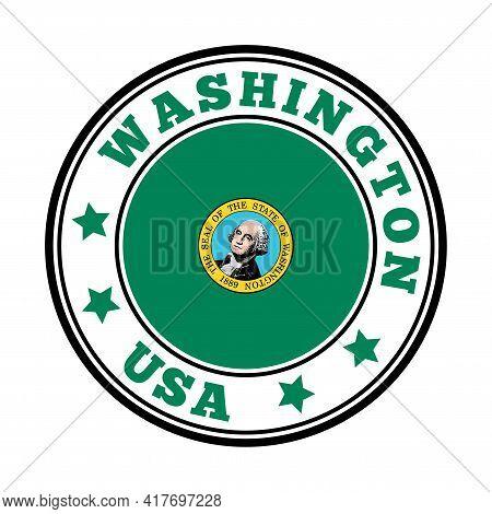 Washington Sign. Round Us State Logo With Flag Of Washington. Vector Illustration.