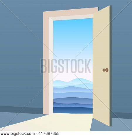 Open Door To Nature Way. Landscape Minimal, Symbol Freedom, New Way Exit, Discovery, Opportunities.