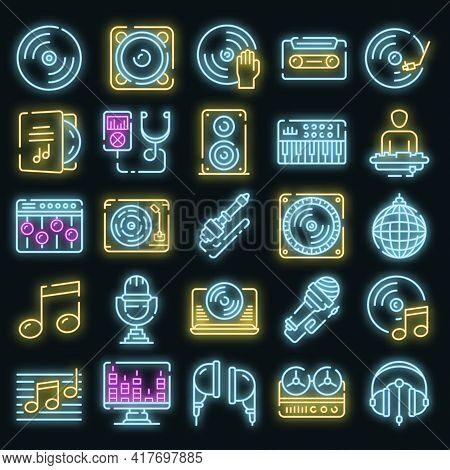 Dj Icons Set. Outline Set Of Dj Vector Icons Neon Color On White