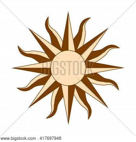 Magic Concept, Vintage Sun With Face, Gold And Black, Engraving Stylized. Illustration For Astrology