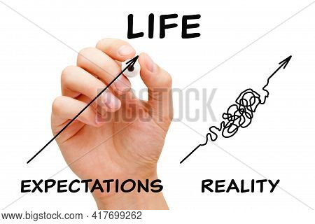 Hand Drawing Concept About The Difference Between The Life Expectations And The Reality.