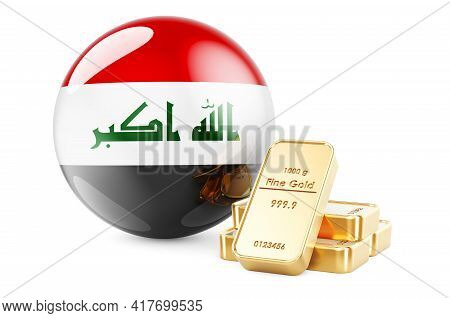 Golden Ingots With Iraqi Flag. Foreign-exchange Reserves Of Iraq Concept. 3d Rendering Isolated On W