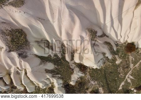 Travel In Cappadocia, Aerial View Of Cappadocia Valley With Amazing Mountain. Turkey
