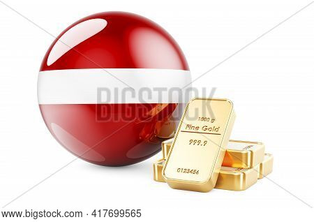 Golden Ingots With Latvian Flag. Foreign-exchange Reserves Of Latvia Concept. 3d Rendering Isolated