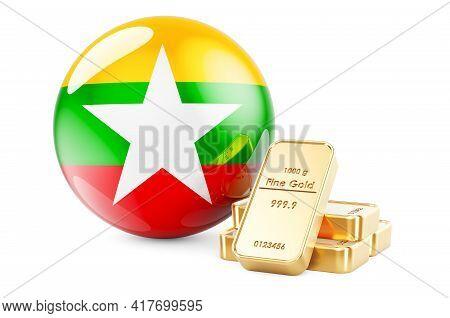 Golden Ingots With Myanmar Flag. Foreign-exchange Reserves Of Myanmar Concept. 3d Rendering Isolated
