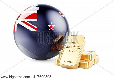 Golden Ingots With New Zealand Flag. Foreign-exchange Reserves Of New Zealand Concept. 3d Rendering