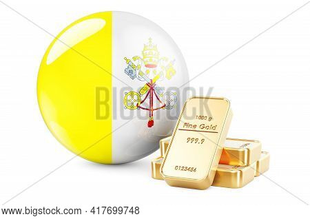 Golden Ingots With Vatican Flag. Foreign-exchange Reserves Of Vatican Concept. 3d Rendering Isolated