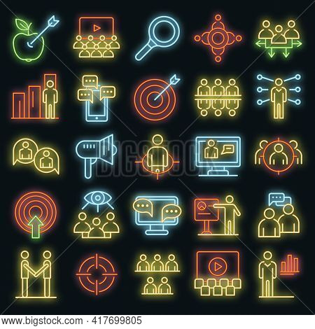 Audience Icons Set. Outline Set Of Audience Vector Icons Neon Color On White