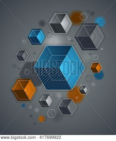 Cubes Cluster With Lines And Dots Elements Vector Abstract Background, 3d Abstraction Techno Style,