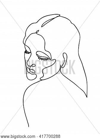 Naked Woman With Long Hair. Line Art