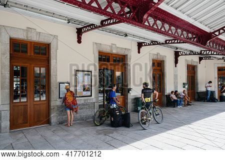 Chamonix, France - Aug 13, 2017: Passengers Waiting At The Train Station Of Chamonix To Embark The T