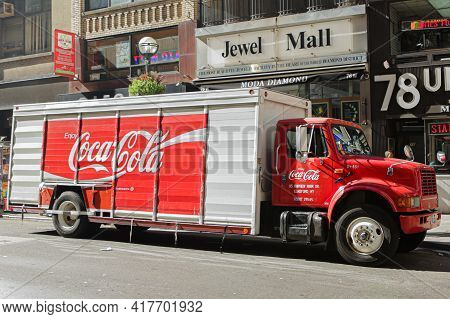 New York City, Ny, Usa 2.09.2020 - Red And White Coca Cola Truck Parked On 47th Str. Coca-cola Brand