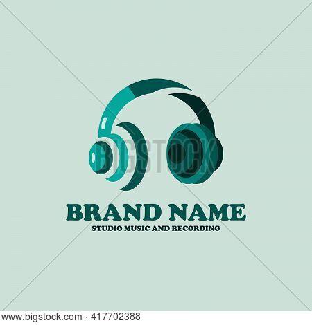 Headset Design Logo Vector. Headphone Illustration Vector