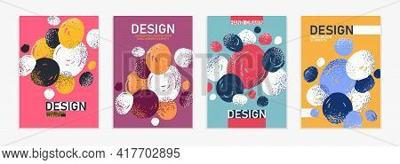 Hand Drawn Art Vector Covers Circles Abstract Backgrounds Set, Artistic Graphic Design Brochures Fly