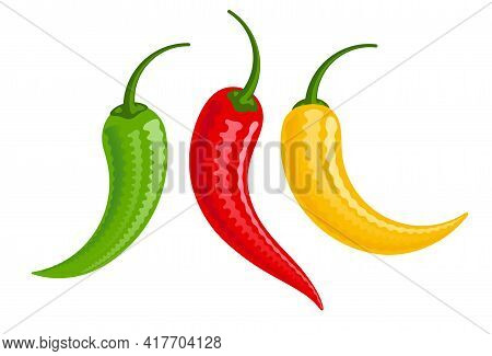 Cartoon Red, Green And Yellow Chilli Peppers Vector Illustration Isolated On White Background
