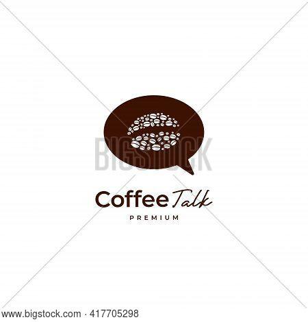 Coffee Bean Talk Logo With Bubble Speak Talk Icon Logo Template