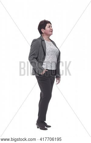 in full growth. confident adult woman in casual clothes