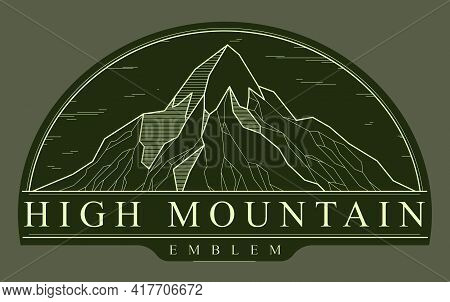 Mountains Range Linear Vector Emblem On Dark, Line Art Drawing Of Mountain Peaks Wilderness Wanderlu