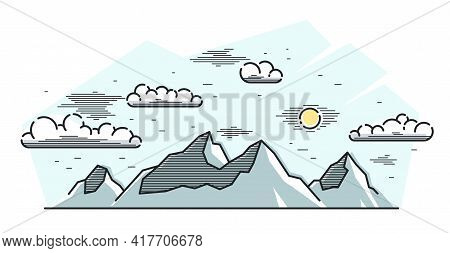 Mountains Range And Pine Forest Linear Vector Illustration Isolated On White, Line Art Drawing Of Mo