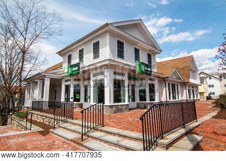 WESTPORT, CT, USA - APRIL 19, 2021:   TD Bank bulding near Parker Harding Plaza and Main Street  in nice spring day