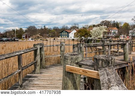 WESTPORT, CT, USA - APRIL 19, 2021:   View from boardwalk at Parker Harding Plaza with in nice spring day