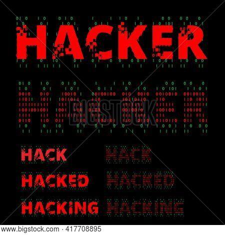 Hacker Wordmark Symbol Set Vector For Design Element