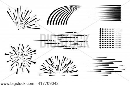 Speed Line. Speed Comic. Background Of Radial Lines. Set Of Various Symbols Of Movement, Speed, Expl