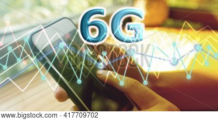 Abstract Woman Hand Using Smartphone Background Image Concept The Success Of 6g Wireless Technology