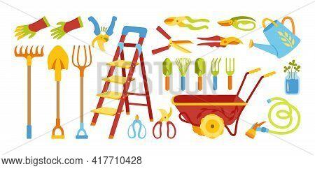 Garden Flat Cartoon Set. Gardening Tools, Shovel Pitchfork And Rake, Rustic Stepladder. Village Rubb