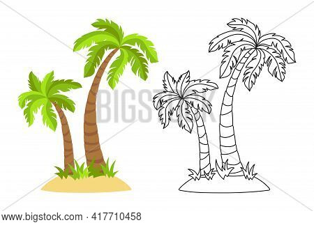 Tropical Island With Palm Trees Flat Cartoon And Line Set. Coconut Palm Trees Nature Design Element.
