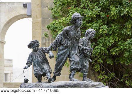 Valletta, Malta - February 20, 2010. Les Gavroches, Bronze Sculpture By Antonio Sciortino, Depicting