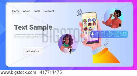 Mix Race People Communicating By Voice Messages Audio Chat Application Social Media Communication Co