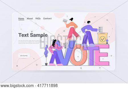 People Voters Making Decisions And Putting Paper Vote In Ballot Box Voting Concept