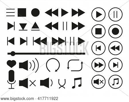 Media Player Icons Set. Collection Of Multimedia Signs. Black Silhouette Symbols Music Interface. Di
