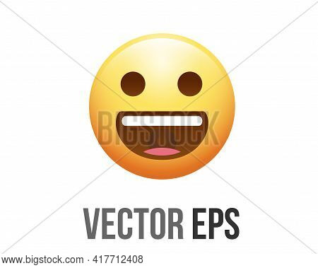 The Isolated Vector Yellow Happy Laughing Face Icon With Closing Eyes