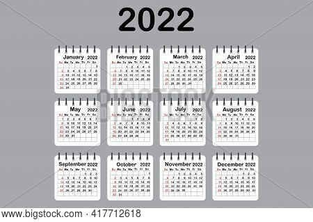 2022 Calendar Color In Modern Style. Calendar Template. Business Organizer. Vector Illustration. Eps