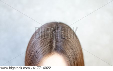 The Head Of A Woman With A Parting Of Gray Hair. A Woman Does Her Hair. Brown Hair On A Woman's Head