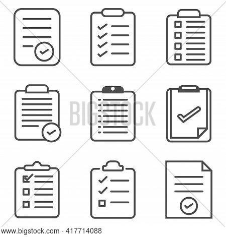 Set Of Record Checklist Paper. Business Work Check Or To-do-list Document Icon. Premium Thin Line 64