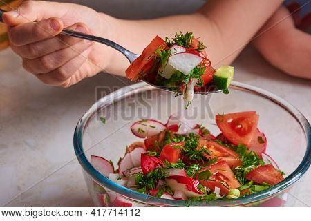 Salad With Cucumber, Tomato And Radish, Dill And Onion