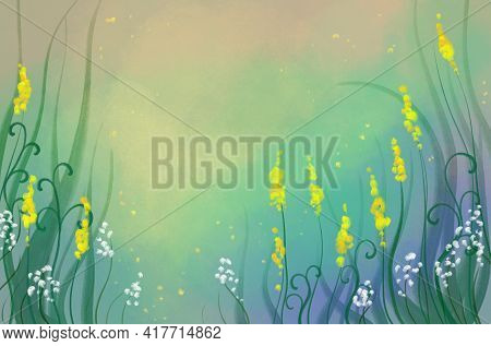 Floral Bright Hand Drawn Multicolor Elegant Light Green Multicolor Leafy Background With Place For T
