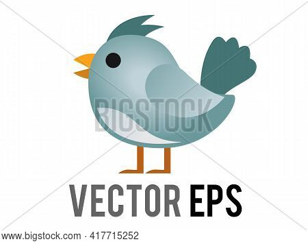 The Isolated Vector Blue Generic Bird, Bluebird Or Cardinal Icon With Eye And Grey Month In Side Vie