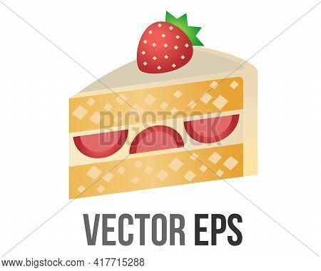 The Isolated Vector Slice Of Strawberry Shortcake Icon, Layered With Whipped Cream And Topped With W