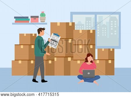 Man And Woman Packing Order For Shipping To Customer. They Earn From Selling Products Via Online Sto