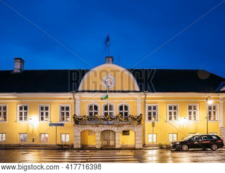 Kuressaare, Estonia - December 15, 2017: Building Of Noble Assembly At Lossi Street In Evening Or Ni