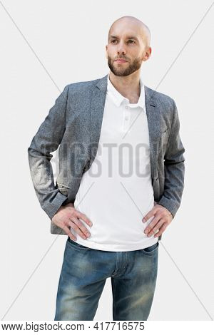 Simple polo shirt man wearing suit business look photoshoot