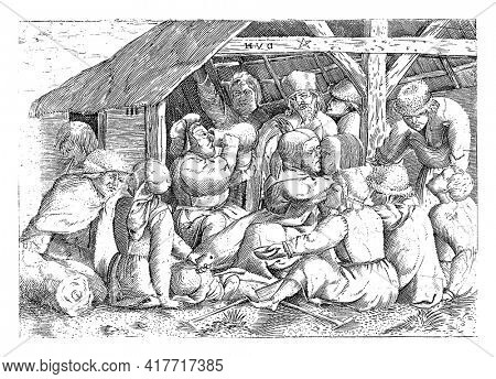 At a hut, beggars and cripples sit on the floor, watching figures eating and drinking. A fat man puts a pitcher to his mouth. In the middle a kissing couple.