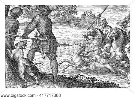 Landscape with two riders and three dogs in a river. The riders aim their spears at a deer. On the left bank, two hunters and a dog, seen from behind