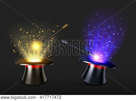 Magic Wand And Magician Hat With Spell Light And Sparkles. Illusionist Black Cylinder With Mystery G