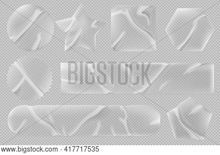 Transparent Stickers Or Patches Mockup. Plastic Or Pvc Shrunken Labels Of Different Shapes Round, Sq