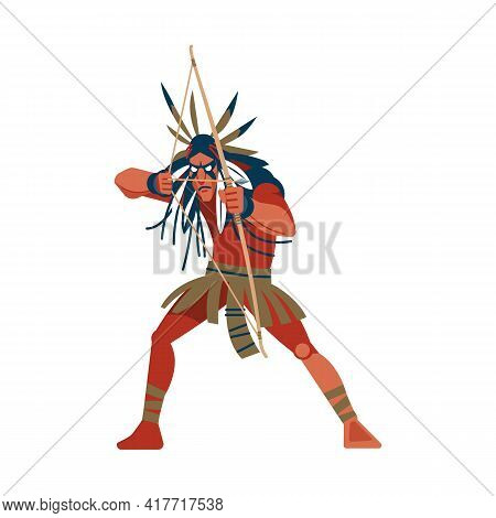 Native American Indian Warrior Man Shooting A Bow, Tribe Member In Traditional Ethnic Clothes And He